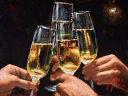 A Toast with Champagne (Four) by Fabian Perez -  sized 16x12 inches. Available from Whitewall Galleries